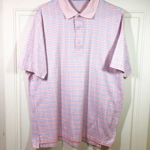 Carnoustie Golf Shirt Coral Blue White Sz L EUC